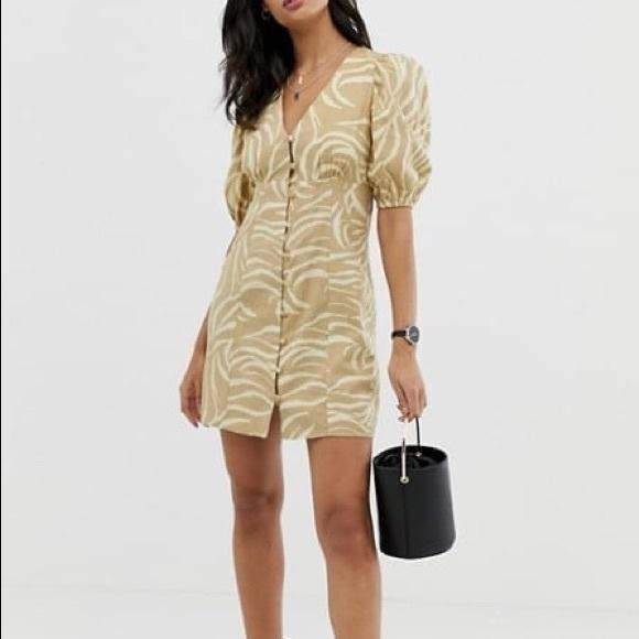 ASOS Puff Sleeve Button Up Dress Natural Zebra